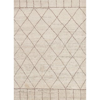 Hand-knotted Contemporary Moroccan Pattern Brown Rug (8' x 10')