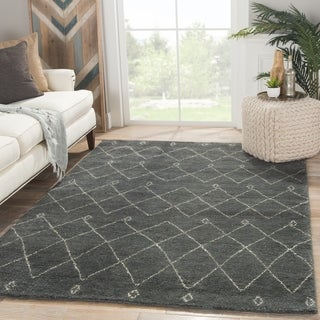 Hand-knotted Contemporary Moroccan Pattern Blue Rug (5' x 8')