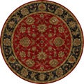 Hand-tufted Traditional Oriental Pattern Red/ Orange Rug (8' Round)