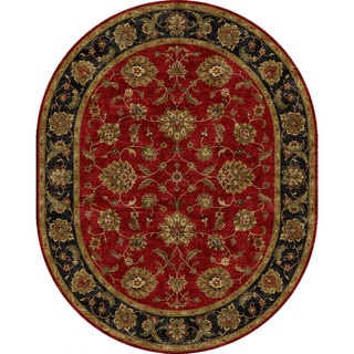 Hand-tufted Traditional Oriental Red/ Orange Rug (8' x 10') Oval