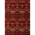 Hand-tufted Transitional Arts/ Crafts Red/ Orange Accent Rug (2' x 3')