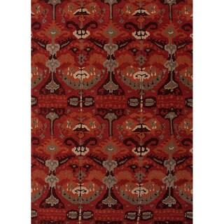 Hand-tufted Transitional arts/ Crafts Red/ Orange Rug (3'6 x 5'6)