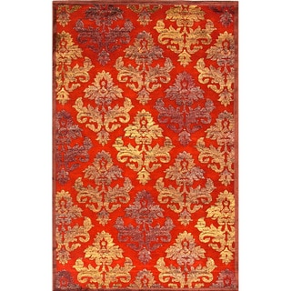 Transitional Floral Pattern Red/ Orange Rug (9' x 12')