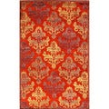 Transitional Floral Pattern Red/ Orange Rug (2' x 3')