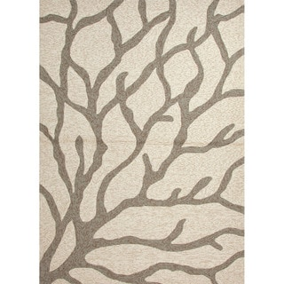 Hand-hooked Indoor/ Outdoor Abstract Pattern Ivory Accent Rug (2' x 3')