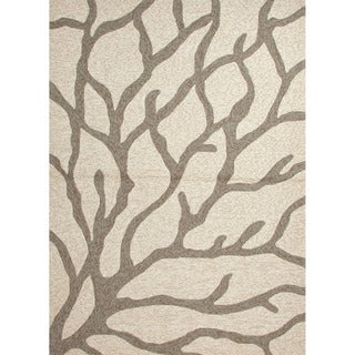 Hand-hooked Indoor/ Outdoor Abstract Ivory Rug (7'6 x 9'6)