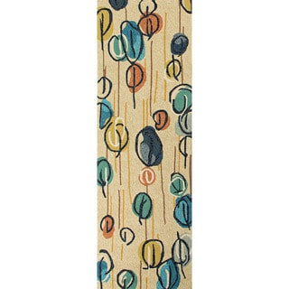 Hand-hooked Indoor/ Outdoor Abstract Pattern Blue Runner Rug (2'6 x 8')