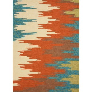 Hand-hooked Indoor/ Outdoor Abstract Red/ Orange Rug (3'6 x 5'6)