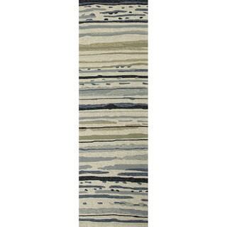 Hand-hooked Indoor/ Outdoor Abstract Gray/ black Rug (2'6 x 8')
