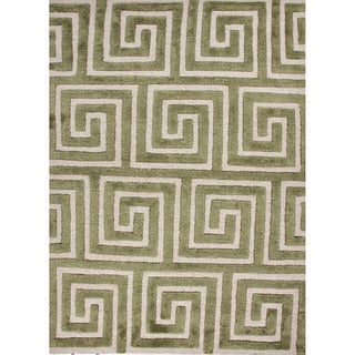 Hand-tufted Contemporary Geometric Pattern Green Rug (8' x 11')