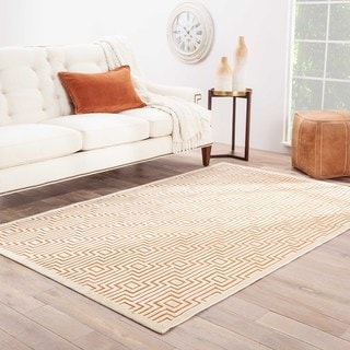 Contemporary Geometric Orange/ White Rug (7'6 x 9'6)