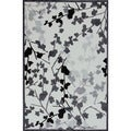 Transitional Floral Pattern Gray/ Black Rug (2' x 3')