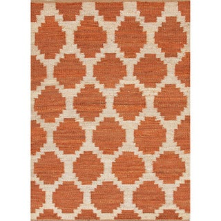 Handmade Flat Weave Moroccan Pattern Red/ Orange Rug (8' x 10')