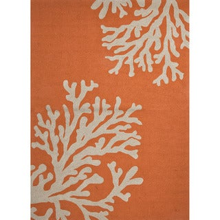 Hand-hooked Indoor/ Outdoor Abstract Red/ Orange Durable Rug (5' x 7'6)