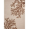 Hand-hooked Indoor/ Outdoor Brown Abstract-pattern Polypropylene Rug (5' x 7'6)