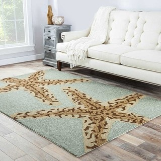 Hand Made Coastal Pattern Blue Ivory Polyester Rug 9x12