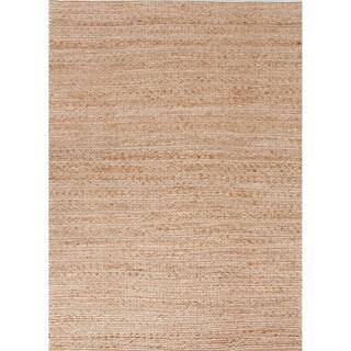 Handmade Naturals Solid Pattern Brown Rug (3'6 x 5'6)