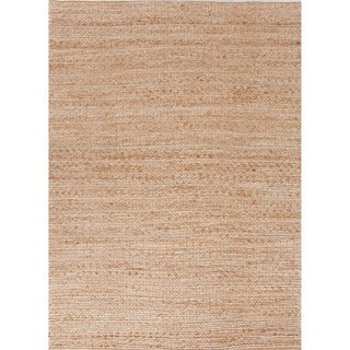 Handmade Naturals Solid Pattern Brown Rug (8' x 10')