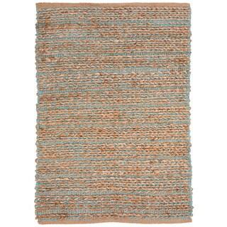Handmade Naturals Solid Pattern Blue Jute Rug (2'6 x 4')
