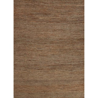 Handwoven Naturals Solid Pattern Green Area Rug (5' x 8')
