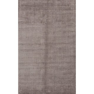 Hand-loomed Solid Pattern Gray/ Black Wool/ Art Silk Rug (8' x 10')