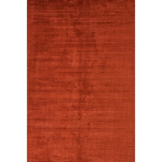 Hand-loomed Solid Pattern Red/ Orange Rug (8' x 10')