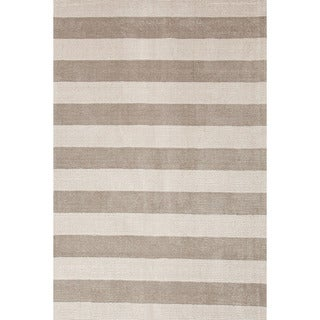 Hand-loomed Transitional Stripe Pattern Gray/ Black Rug (8' x 10')