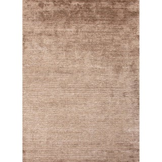 Hand-loomed Solid-pattern Brown Area Rug (8' x 10')