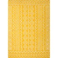 Handmade Flat Weave Tribal Pattern Yellow Rug (5' x 8')