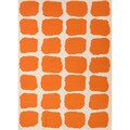 Handmade Flat Weave Abstract White/ Orange Rug (3'6 x 5'6)