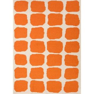 Handmade Flat Weave Abstract Pattern Orange/ White Rug (8' x 10')