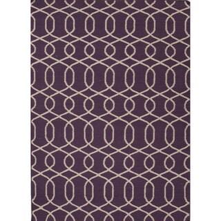 Handmade Flat Weave Moroccan Pattern Pink/ Purple Rug (5' x 8')