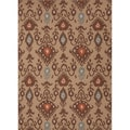 Handmade Flat Weave Tribal Pattern Brown Rug (5' x 8')