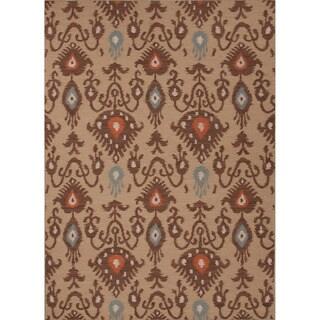 Handmade Flat Weave Tribal Pattern Brown Rug (8' x 10')