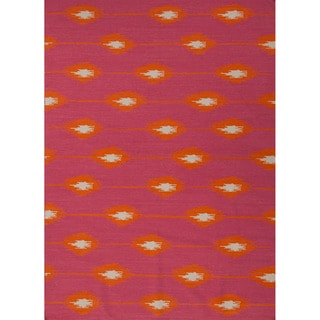 Handmade Flat Weave Tribal Pattern Pink/ Purple Rug (5' x 8')