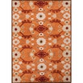 Durable Hand-tufted Transitional Floral-pattern Red/ Orange Rug (5' x 8')