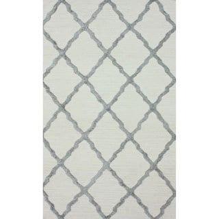 nuLOOM Flatweave Trellis Kilim Dhurrie Grey Rug (8' x 10')