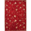 Hand-tufted Transitional Floral Pattern Red/ Orange Rug (5' x 8')