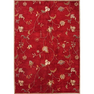 Hand-tufted Transitional Floral-pattern Red/ Orange Wool Rug (5' x 8')