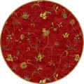 Hand-tufted Transitional Floral Pattern Red/ Orange Rug (8' Round)