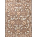 Hand-tufted Transitional Oriental Pattern Brown/ Blue Rug (2' x 3')