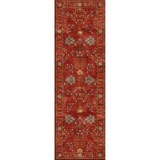 Hand-tufted Transitional arts/ Crafts Red/ Orange Rug (2'6 x 8')