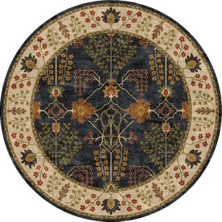 Hand-tufted Transitional arts/ Crafts Pattern Blue Rug (8' Round)