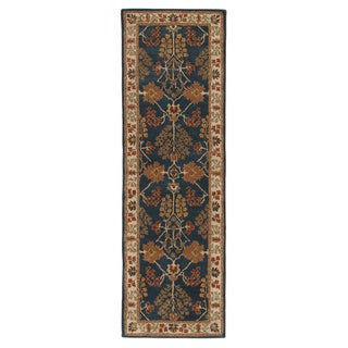 Hand-tufted Transitional arts/ Crafts Pattern Blue Rug (2'6 x 8')