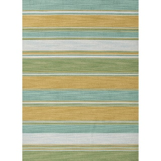 Handmade Flat-weave Stripe-pattern Green Accent Rug (2' x 3')