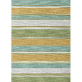 Handmade Flat-weave Stripe-pattern Green Reversible Rug (5' x 8')