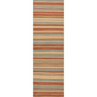 Handmade Flat Weave Stripe Pattern Red/ Orange Rug (2'6 x 8')