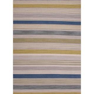 Handmade Flat Weave Stripe Pattern Green Durable Rug (4' x 6')