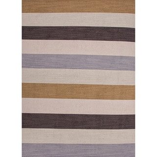 Handmade Flat-weave Stripe-pattern Brown Wool Rug (4' x 6')