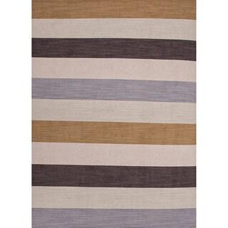 Handmade Flat-weave Stripe-pattern Brown Wool Rug (4' x 6')